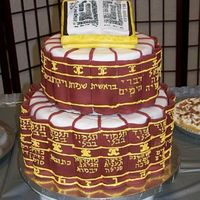 320390880705_0_Alb.jpg This is a cake I made for my husband when he finished studying all of the Talmud - It has the titles of all the books of the talmud written...