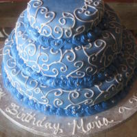 Birthday Cake A cake I made for my neighbor's birthday...my first attempt at decorating with royal icing.