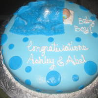 Baby Boy Baby Shower Cake My first Baby Shower cake...The baby and Blanket were all made with fondant...