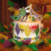 Mardi Gras fondant/gumpaste decorations. Small masks are hand painted