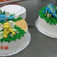 Alek's And Ari's Dino Cakes baby dinos for Ari's first birthday and dinos for Alek's third birthday. all bc with chocolate filling, fondant dinos and leaves...