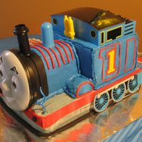Thomas The Tank Engine all bc with fondant accents. Thomas features were purchased as a kit