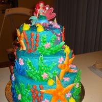 Little Mermaid   buttercream cake with royla icing decorations