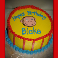 Curious George Curious George 1st birthday cake. All buttercream with fondant curious george face. Thanks for looking!