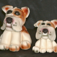 Go Bulldogs  The two guys were made from a mixture of gum paste and MMF with extra tylose in it. The bigger dog weighed a 1 1/2 pounds from front paw to...