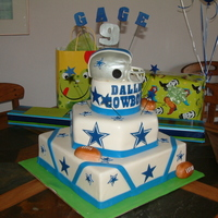 Dallas Cowboys  This was for a nine year old boy who is a super fan of the Dallas Cowboys. The helmet is made from rice krispy treats and covered with MMF...