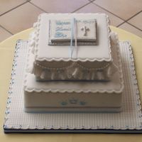 Bible Christening Cake A religious Christening cake for a baby boy. 2 tier square cake sizes 6'' and 8 '' all covered in marzipan and...