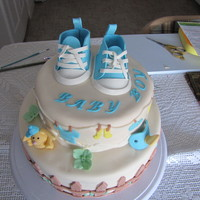 Baby Boy Shower  Two tier WASC cake filled with apricot/pineapple jam. Iced in buttercream and covered in fondant. Gumpaste and fondant details. This cake...