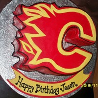 Hockey Birthday Birthday cake for Calgary Flames fan.