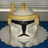 Commander Cody; Star Wars Clone Wars  Sherry Wine cake (pound cake texture) with vanilla buttercream. The yellow visor is made of styrofoam wrapped in plastic and covered with...