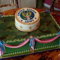 Army Patriotic Butter cream iced chocolate cakes with fondant draping. stars and edible image
