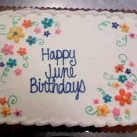 June Birthdays Flowers marble sheetcake for a customer