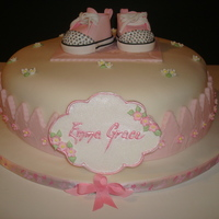 "Baby Girl Converse Shoe Cake This is a 14"" round chocolate fudge cake torted and filled with buttercream and covered in fondant. I used cambo's pattern for..."