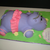 Hippopotamus Ballerina  My Granddaughter asked for a purple hippopotamus with a pink tu tu for her 5th birthday, so this is what I came up with. Chocolate fudge...