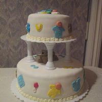 Baby Shower Cake 6' round and 10' round wasc with fondant.Filling is whipping cream and raspberry jam.