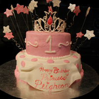 1St Birthday Cake For A Princess I was asked to make a princess themed cake for a little girls 1st birthday. Cake is covered in buttter cream with butter cream accents....
