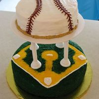 Baseball Theme This is a picture of the cake I made for a good friends baby shower. Obviously there was a sports theme.