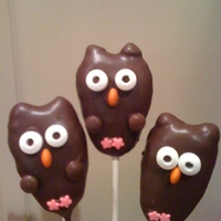 Hootie Cake Pops Owls are made with oreo delite on inside and dipped in melted chocolate. Ears are chocolate chips attached before dipping. Eyes are candy...