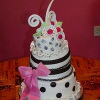 Pink Black And White Party Cake Fondant covered cakes in a whimisical design (Collette Peters) This was a bridal shower but would be great for a birthday celebration as...