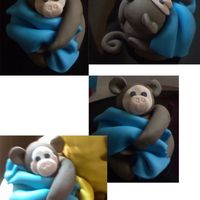Fondant Baby Monkey   Lil baby monkey was made with fondant/gumpaste mix for a baby shower cake.