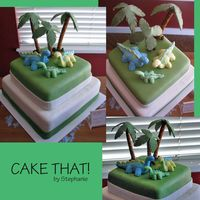 Dinosaur Baby Shower Cake Devils food, with ganache covered in fondant, dinosaur figures are made out of gumpaste. This was a fun cake to do. Im very lucky to have a...