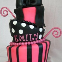 Pink Black Topsy Turvy Topsy turvy cake for a sweet 16th. I covered this cake in white fondant and airbrushed it in hot pink after wasting many hours trying to...