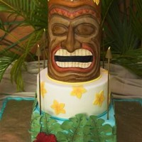 Tiki Cake This is a 5 tier sculpted and molded tiki cake.