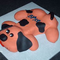 Puppy Cake Fondant cover puppy shaped cake for a child's 1st birthday
