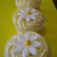 Lemon Daisy Cupcakes   Lemon cup cakes, with cream cheese/lemon filling, and Lemon Mousseline Buttercream