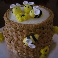 Bee-Cause Cake This I made: Bee-cause, I wanted to make the bumbles bees, and put them on a cake, not bad for 1st ones but would make smaller next time....