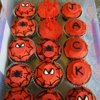 Jacks Spiderman Cupcakes   Chocolate cakes, BC icing with fondant discs.