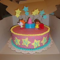 Dora Cake Buttercream with Fondant accents and toys. This cake was inspired by veronica720 .