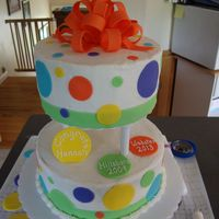 Polka Dot Cake Graduation Cake iced in buttercream with fondant accents