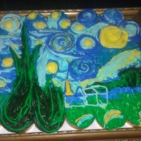 "Starry Night From the book ""Hello, Cupcake,"" for a 16 year old girl. The frame and cake is her present."