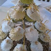 Gold And White Baby Shower Cupcakes Baby Shower cupcakes for a white and gold themed baby shower. Choc mud cake with fondant decorations. So fun to make. Thanks to ValH for...