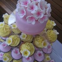 Frangipani Wedding Cupcakes Frangipani toppers on cupcakes with buttercream and fondant icing. Mudcake and Honey cakes.