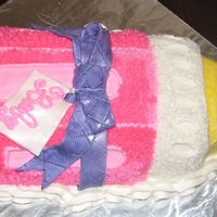 Baby Bottle Cake YELLOW CAKE WITH BANANA CREAM FILLING AN BUTTERCREAM ICING. BOW IS FONDANT PAINTED WITH PEARL DUST,
