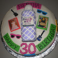 80's Theme Birthday Aqua Net can made out of cake and covered in fondant. Buttercream frosting, fondant deocrations.