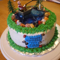 Fishing Theme Birthday Cake Fishing Cake, water was made with piping gel, candy rock, buttercream frosting
