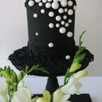Black Pearls  7 inch Cake x 7 inch high - Cupcakes & Cookies made for Corporate Event for Pearl Company - Celebrating their first Birthday.Black...