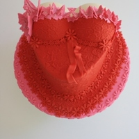 Bustier Cake  Red and Pink Embossed Bustier Cake Mini Butterflies used for lace across topSilverwood mini Sphere Pan used to make BoobsWhite Mud Cake in...