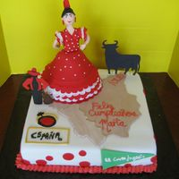 Viva Espana This is a birthday cake I made for my Spanish friends' 40th birthday. All elements are made from gumpaste and royal icing. Spanish...