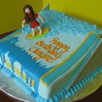 Indoor Surfing I made this for my daughter's birthday party which she had at an indoor surfing place. Cake is covered in fondant with poured royal...