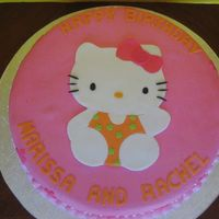 Hello Kitty Birthday Cake is covered in fondant and topped with fondant cut-outs of Hello Kitty.