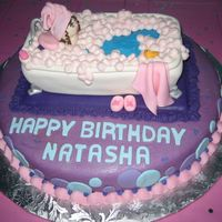 Day At The Spa This cake was for my 5-year old' birthday party at a little girl's spa. The bottom layer is vanilla and covered in MMF, the...