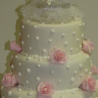 Anniversary Cake With Pink Roses This was white fondant with royal icing dots and gumpaste pink flowers.