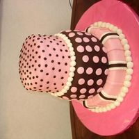 Polka Dots three tiered cake with stripes and polka dots I made for a bake sale at work. The proceeds went to Childrens Miracle Network