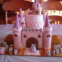 Castle Castle made for co worker's daughter. All cake except top turrents (ice cream cones cut shorter). I never made a square cake before so...