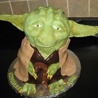 Yoda   Yoda, made from RKT for head, stacked cakes for body, fondant for body gumpaste for ears