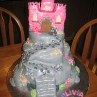 Pink Castle Cake   Pink castle is RKT as is path, rest is cake, all covered in fondant. Inspired by Debbie Brown's cake